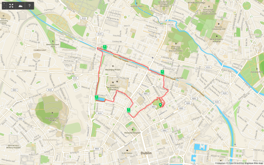 17 February 2014. JJ .5M North Inner Loop. NCR to Glasnevin Final Route.
